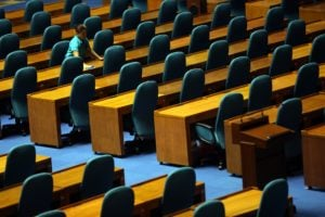 CONGRESS / MAY 23, 2016 A worker cleans at the plenary hall House of Representatives, Batasan, Quezon City, May 23, 2016, in preparation for the May 25 official canvassing of votes for president and vice presidential candidates. INQUIRER PHOTO / NINO JESUS ORBETA